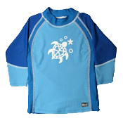 Swimwear---UV-Rash-Shirt-Blue-White Long Sleeve Rash Shirt--