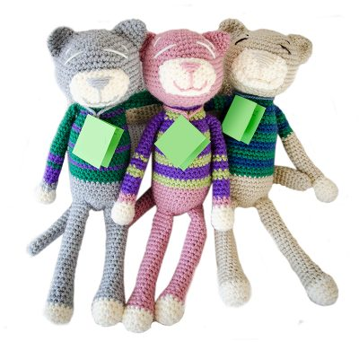 Jozi-Dolls & Animals - Hand Made Knitted Cats - an NGO Initiative - buy from www.babybanz.co.za