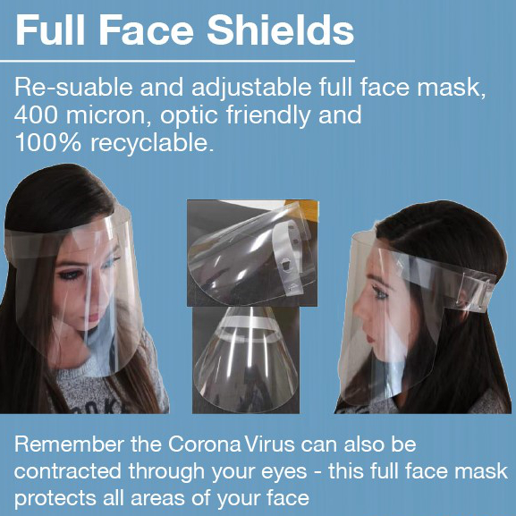 Flat Pack Shield Wraps around face – comes die cut with indentations to keep away from the face. Cost R39,00