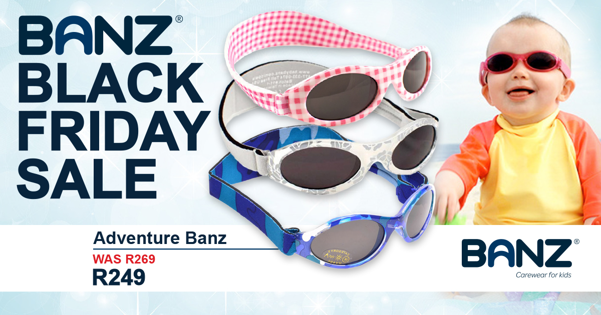 Black Friday Sale BanzWorld Adventure Banz Sunglasses for kids and babies Banz BF - Facebook 1200 x 630