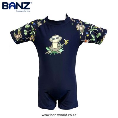 Navy Jungle Banz Full Piece Kids and Baby Swimming Costume banzworld.co.za - Banz, Navy Jungle Full Piece Kids & Baby Swimming Costumes.Swimwear suit from Banz for children aged 0-6 years old. Made from quality materials & sun protection.