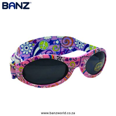 Peace Pattern-Adventure-Banz-Sunglasses-for-Babies-and-Kids by BanzWorld.co.za. Order only. Sizes available:BABY – 0 – 2 Years OldKIDS – 2 – 6 Years Old