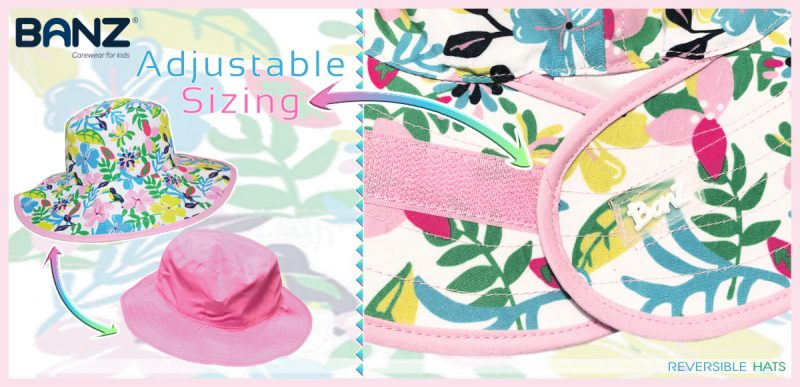 Adjustable Velcro - Pink Green Blue Botanical Bucket Reversible Banz Hat for Baby & Kids www.banzworld.co.za