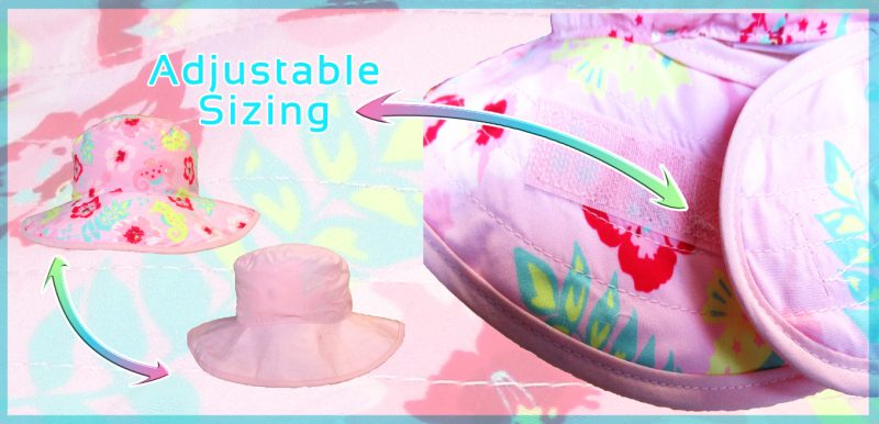 Big-Flower-Pink-Reversible-Banz-Baby-Hat-Banz-Baby-and-Kids-Hats-turqouise-Pink-Green-www.banzworld.co_.za with adjustable velcro