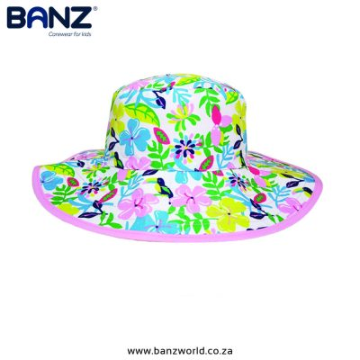 Botanical Reversible Banz Baby Hat Banz Baby and Kids Hats Blue Pink Green www.banzworld.co.za