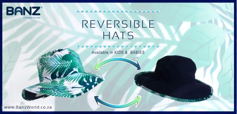 Adustable Velcro Green Blue Palm Bucket Tropical Island Reversible Banz Hat for Baby & Kids www.banzworld.co.za