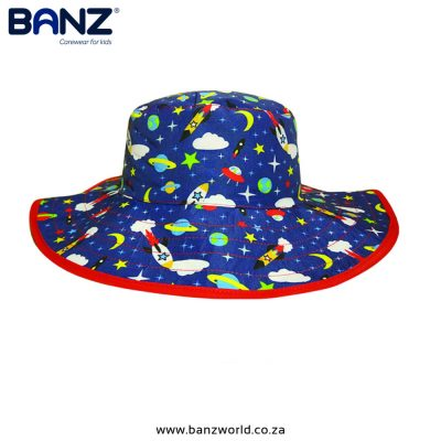 Space Reversible Banz Baby Hat Banz Baby and Kids Hats Red Navy Green www.banzworld.co.za with Adjustable Velcro