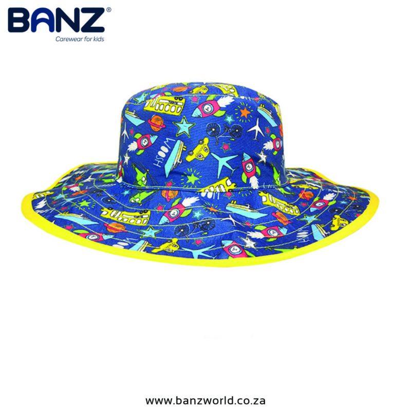 Transport Reversible Banz Baby Hat & Kids Hats | South Africa | BanzWorld.co.za. Blue Yellow Hats available in Baby Banz Size 48 cm & Kids Banz Size 56cm Hats