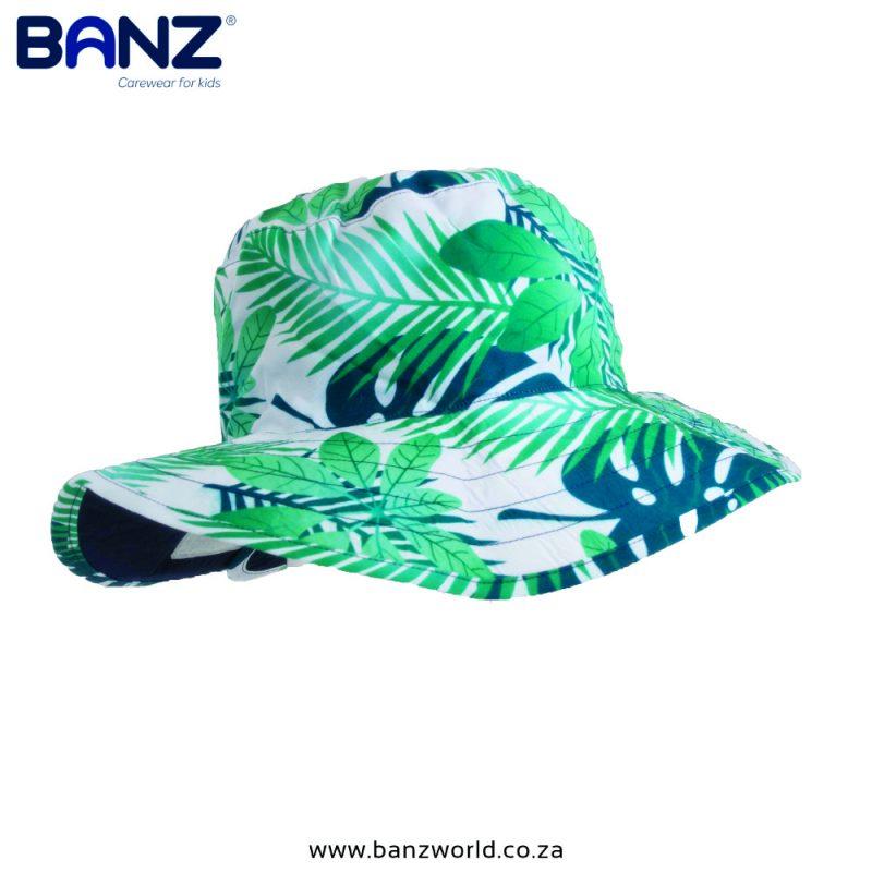 Tropical Reversible Banz Baby Hat & Kids Hats | South Africa | BanzWorld.co.za. Navy Green Hats available in Baby Banz Size 48 cm & Kids Banz Size 56cm Hats